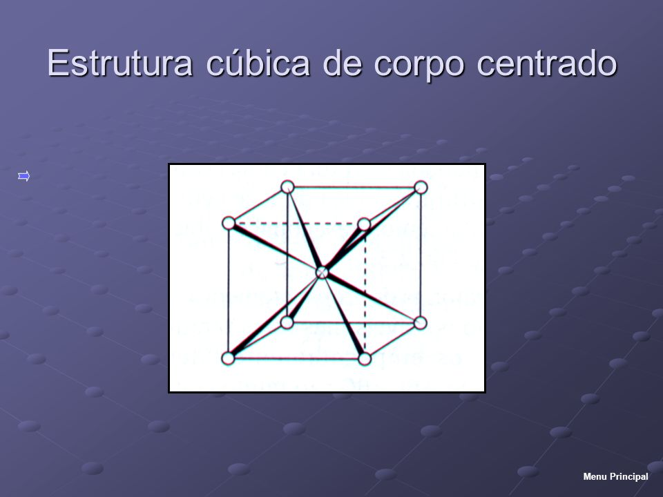 Estrutura cúbica de corpo centrado Menu Principal
