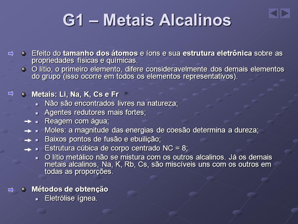 G1 – Metais Alcalinos Efeito do tamanho dos átomos e íons e sua estrutura eletrônica sobre as propriedades físicas e químicas.