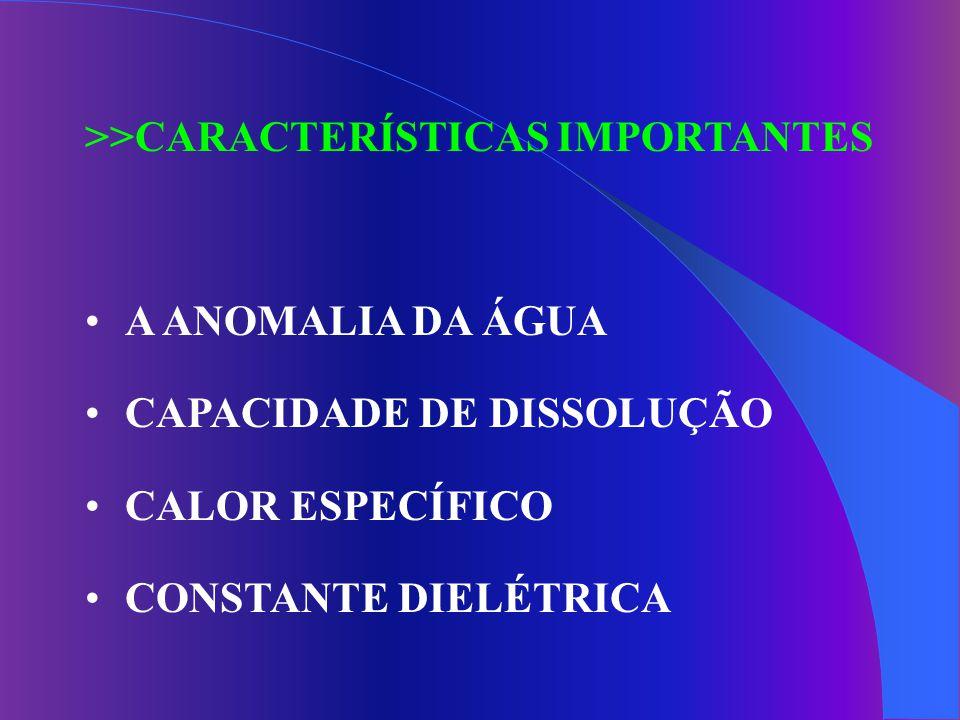 >>CARACTERÍSTICAS IMPORTANTES A ANOMALIA DA ÁGUA CAPACIDADE DE DISSOLUÇÃO CALOR ESPECÍFICO CONSTANTE DIELÉTRICA