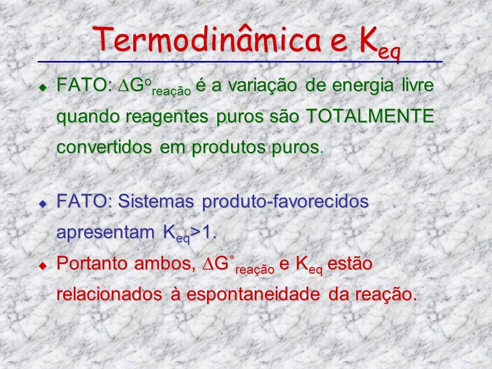 FATO: G o reação é a variação de energia livre quando reagentes puros são TOTALMENTE convertidos em produtos puros. FATO: G o reação é a variação de e