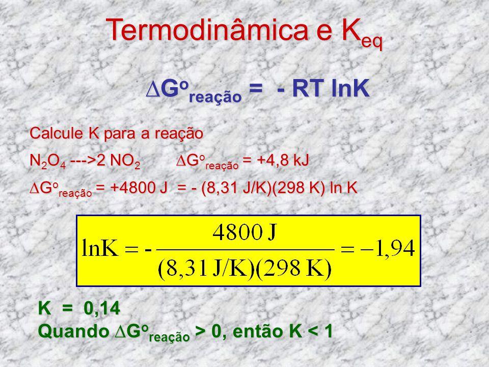 Calcule K para a reação N 2 O 4 --->2 NO 2 G o reação = +4,8 kJ G o reação = +4800 J = - (8,31 J/K)(298 K) ln K G o reação = - RT lnK Termodinâmica e