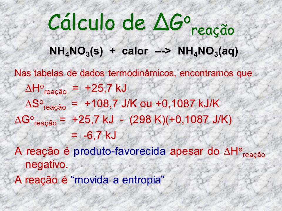 Cálculo de G o reação Nas tabelas de dados termodinâmicos, encontramos que H o reação = +25,7 kJ H o reação = +25,7 kJ S o reação = +108,7 J/K ou +0,1