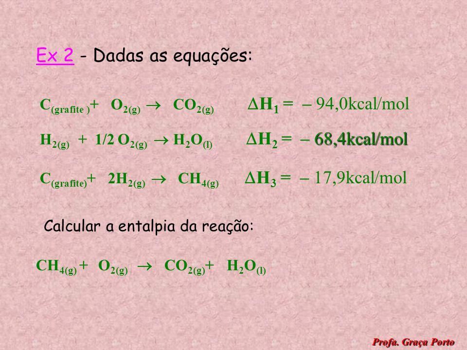 1ª etapa : C (grafite) + 1/2O 2(g) CO (g) H 1 = -26,4kcal/mol 2ª etapa : CO (g) + 1/2O 2(g) CO 2(g) H 2 = -67,6kcal/mol Etapa final: C (grafite) + O 2
