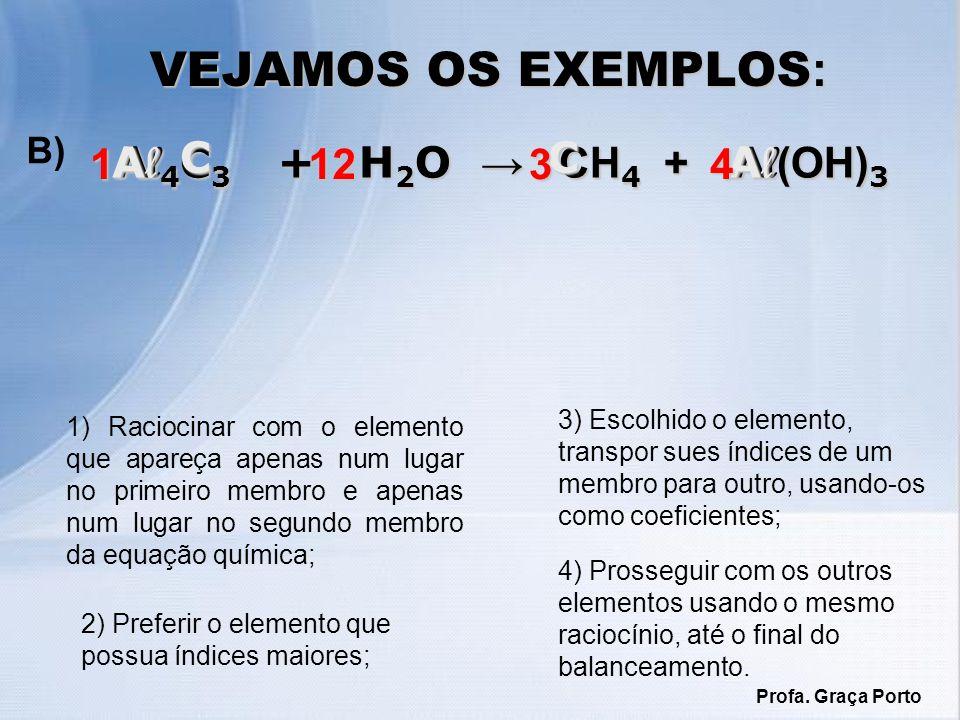 1) Raciocinar com o elemento que apareça apenas num lugar no primeiro membro e apenas num lugar no segundo membro da equação química; VEJAMOS OS EXEMP