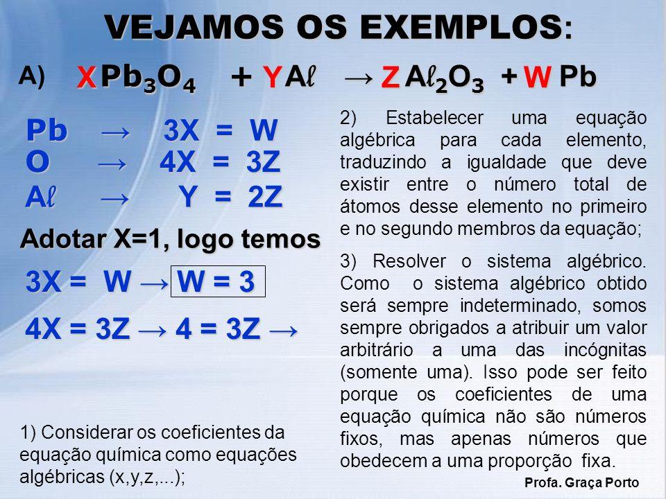 1) Considerar os coeficientes da equação química como equações algébricas (x,y,z,...); VEJAMOS OS EXEMPLOS : Pb 3 O 4 + A l A l 2 O 3 + Pb Pb 3 O 4 +