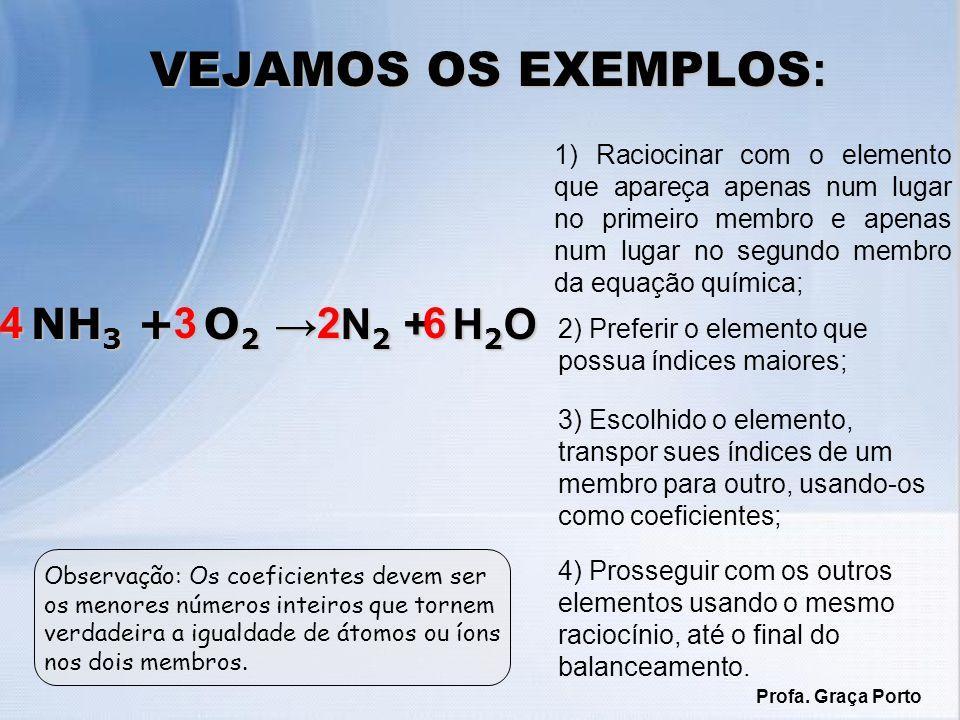 1) Raciocinar com o elemento que apareça apenas num lugar no primeiro membro e apenas num lugar no segundo membro da equação química; VEJAMOS OS EXEMPLOS : A l 4 C 3 + H 2 O CH 4 + A l (OH) 3 A l 4 C 3 + H 2 O CH 4 + A l (OH) 3 2) Preferir o elemento que possua índices maiores; 3) Escolhido o elemento, transpor sues índices de um membro para outro, usando-os como coeficientes; 4) Prosseguir com os outros elementos usando o mesmo raciocínio, até o final do balanceamento.