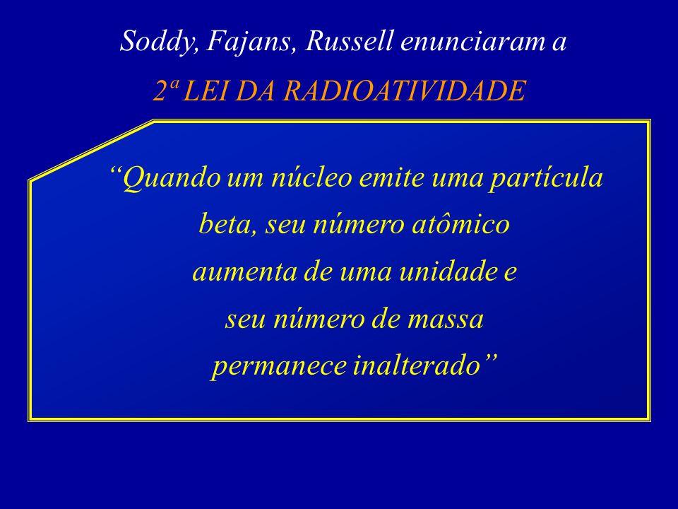 Soddy, Fajans, Russell enunciaram a 2ª LEI DA RADIOATIVIDADE Quando um núcleo emite uma partícula beta, seu número atômico aumenta de uma unidade e seu número de massa permanece inalterado