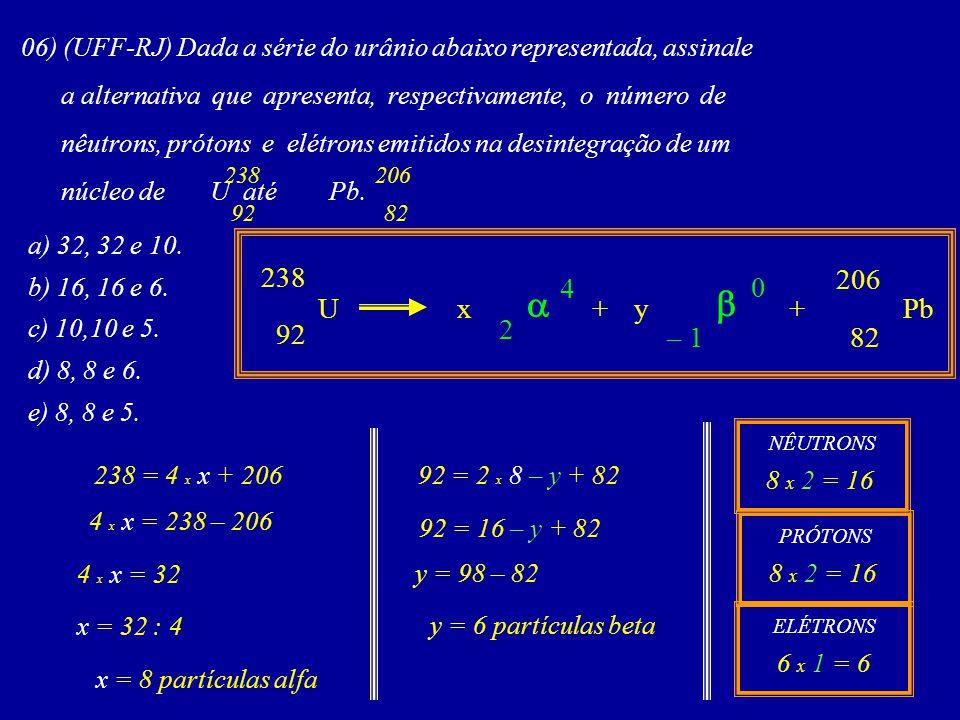 06) (UFF-RJ) Dada a série do urânio abaixo representada, assinale a alternativa que apresenta, respectivamente, o número de nêutrons, prótons e elétrons emitidos na desintegração de um núcleo de U até Pb.