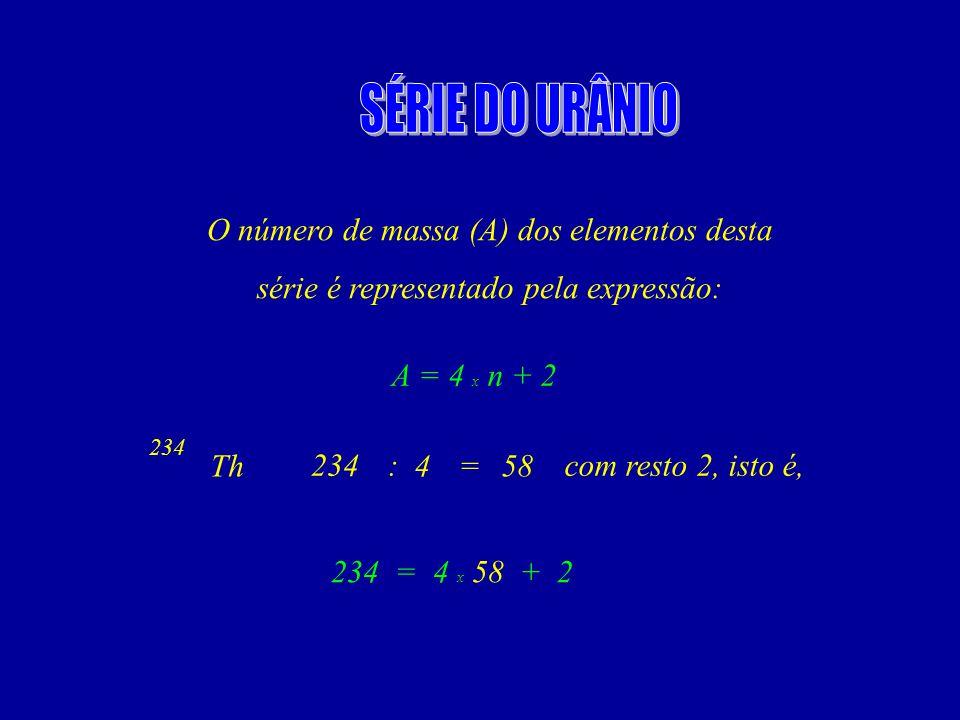 O número de massa (A) dos elementos desta série é representado pela expressão: A = 4 x n + 2 Th 234 458 : = com resto 2, isto é, 234 = 4 x 58 + 2