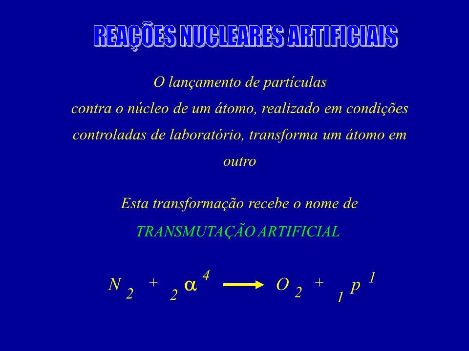 O lançamento de partículas contra o núcleo de um átomo, realizado em condições controladas de laboratório, transforma um átomo em outro Esta transformação recebe o nome de TRANSMUTAÇÃO ARTIFICIAL NO 2 2 4 2 ++ p 1 1