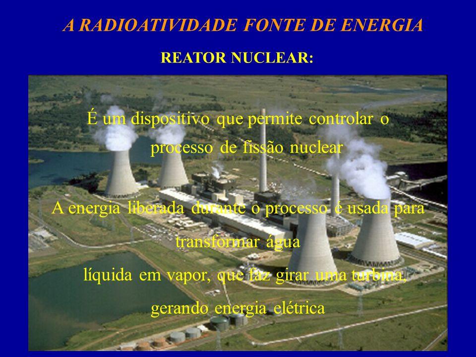 A RADIOATIVIDADE FONTE DE ENERGIA REATOR NUCLEAR: É um dispositivo que permite controlar o processo de fissão nuclear A energia liberada durante o processo é usada para transformar água líquida em vapor, que faz girar uma turbina, gerando energia elétrica