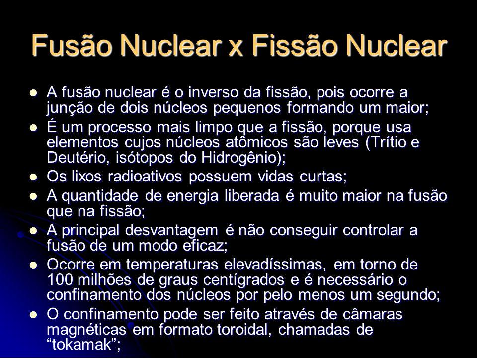 Fusão Nuclear x Fissão Nuclear O principal projeto a respeito de fusão nuclear é o ITER (Reator Experimental Termonuclear Internacional) tocado por Japão e União Européia; O principal projeto a respeito de fusão nuclear é o ITER (Reator Experimental Termonuclear Internacional) tocado por Japão e União Européia; Os primeiros testes estão previstos para 2015 e o dinheiro empregado já ultrapassou 10 bilhões de dólares; Os primeiros testes estão previstos para 2015 e o dinheiro empregado já ultrapassou 10 bilhões de dólares; O principal objetivo deste projeto é conseguir dominar a fusão nuclear para gerar energia de forma controlada; O principal objetivo deste projeto é conseguir dominar a fusão nuclear para gerar energia de forma controlada; Por necessitar de grandes investimentos, são poucos os projetos que focam a fusão nuclear; Por necessitar de grandes investimentos, são poucos os projetos que focam a fusão nuclear; O Brasil não participa do ITER; O Brasil não participa do ITER; Rede Nacional de Fusão com cerca de 70 pesquisadores de 17 instituições nacionais; Rede Nacional de Fusão com cerca de 70 pesquisadores de 17 instituições nacionais; O objetivo dessa é capacitar cientificamente e tecnicamente para que a tecnologia da fusão seja viabilizada como fonte de energia.