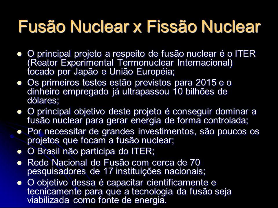 Fusão Nuclear x Fissão Nuclear Fissão : n + U235 -> Ba143 + Kr91 + 2 n; Fissão : n + U235 -> Ba143 + Kr91 + 2 n; Fusão: H2 + H3 -> He4 + n.