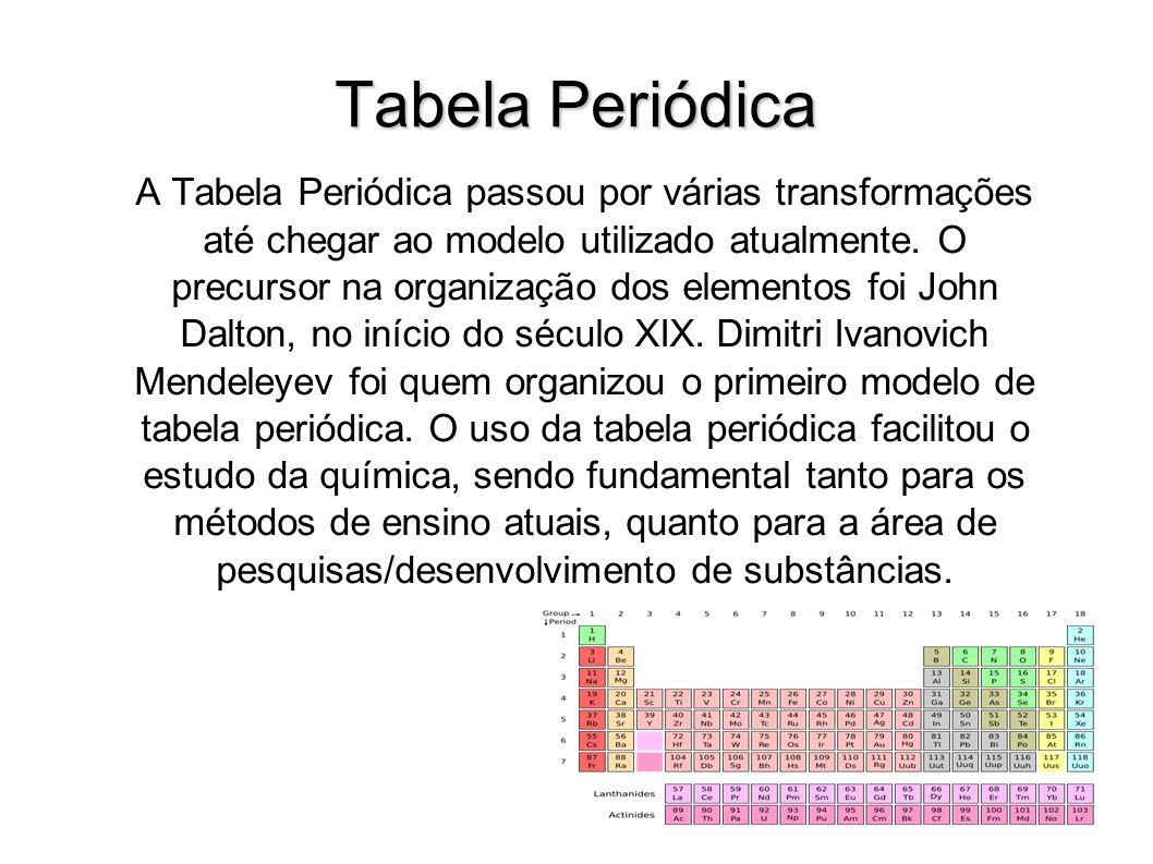 Tabela Periódica A Tabela Periódica passou por várias transformações até chegar ao modelo utilizado atualmente. O precursor na organização dos element