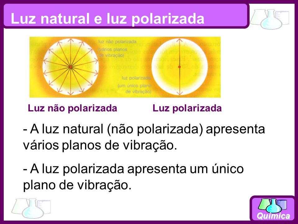 Química Luz natural e luz polarizada Luz não polarizada Luz polarizada - A luz natural (não polarizada) apresenta vários planos de vibração. - A luz p