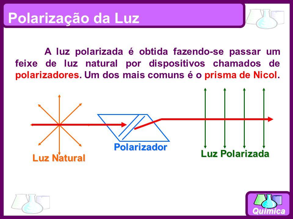 Química Polarização da Luz Luz Natural Polarizador Luz Polarizada A luz polarizada é obtida fazendo-se passar um feixe de luz natural por dispositivos chamados de polarizadores.