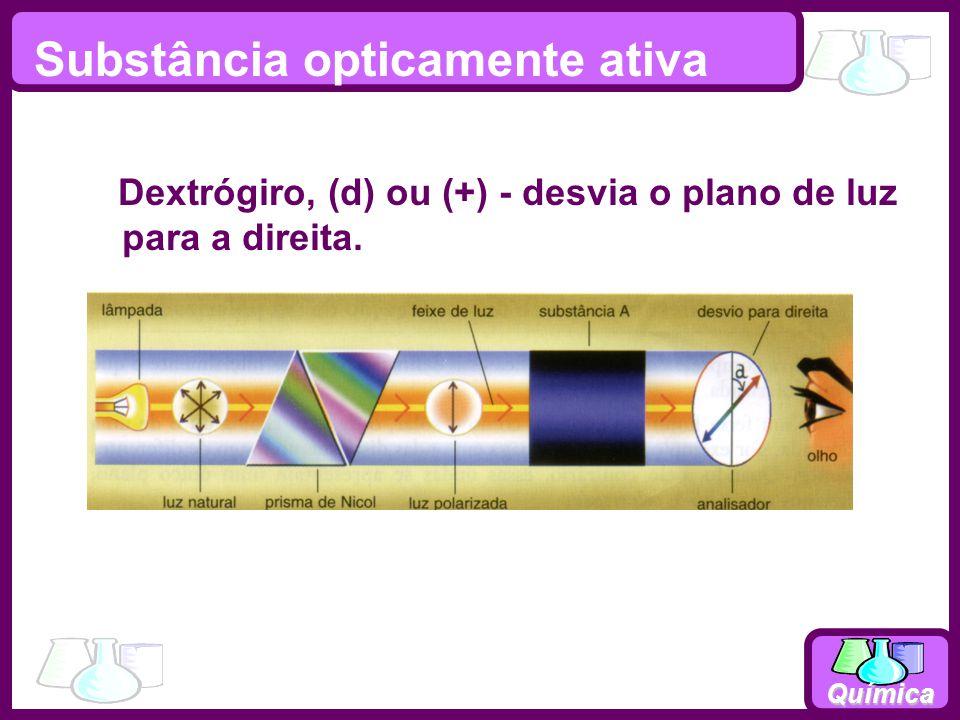 Química Substância opticamente ativa Dextrógiro, (d) ou (+) - desvia o plano de luz para a direita.