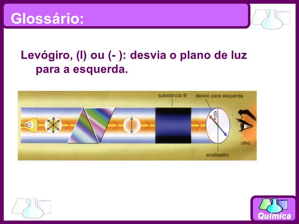 Química Levógiro, (l) ou (- ): desvia o plano de luz para a esquerda. Glossário: