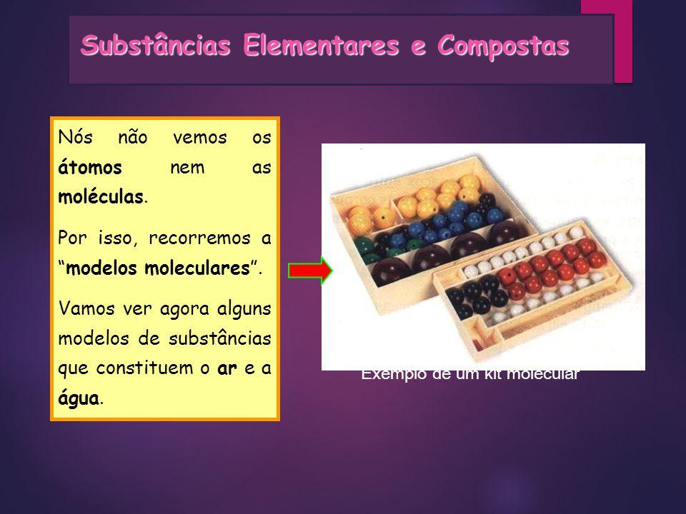 Substâncias Elementares e Compostas Nós não vemos os átomos nem as moléculas. Por isso, recorremos amodelos moleculares. Vamos ver agora alguns modelo