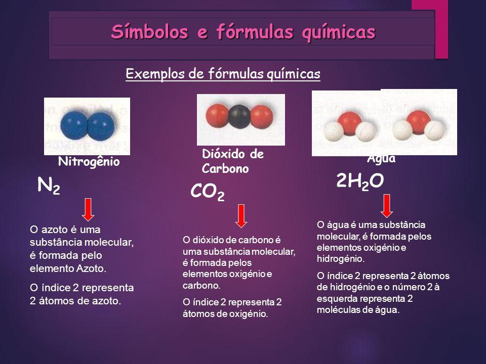 Símbolos e fórmulas químicas Dióxido de Carbono Nitrogênio N2N2 Exemplos de fórmulas químicas O azoto é uma substância molecular, é formada pelo eleme