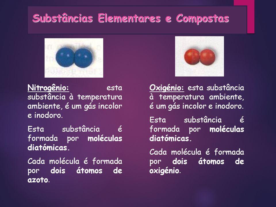 Nitrogênio: esta substância à temperatura ambiente, é um gás incolor e inodoro. Esta substância é formada por moléculas diatómicas. Cada molécula é fo