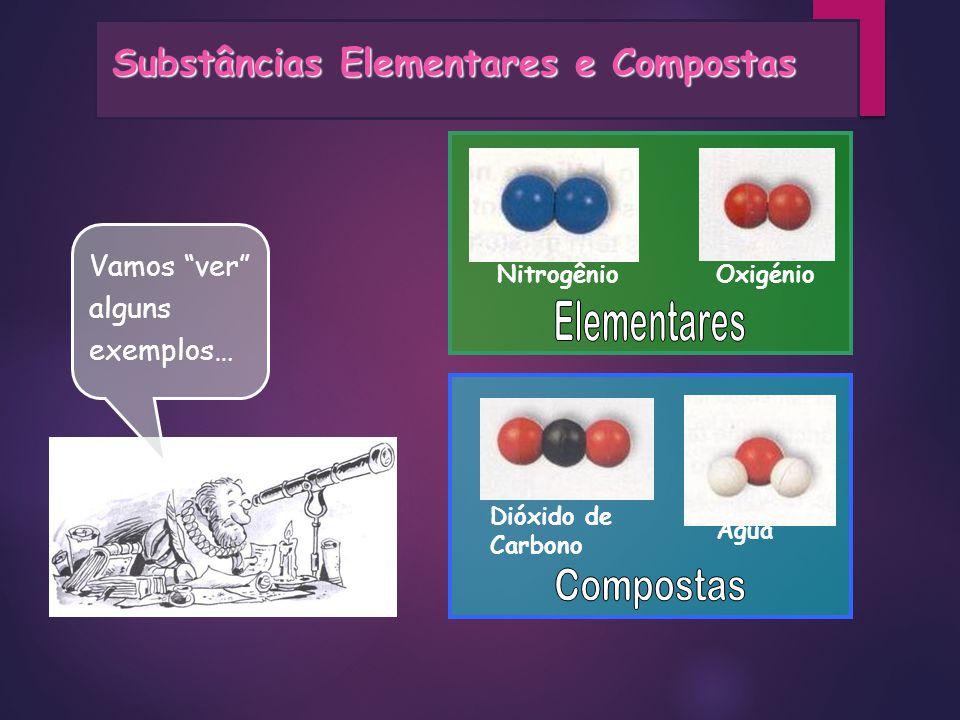 Vamos ver alguns exemplos… Dióxido de Carbono Água OxigénioNitrogênio Substâncias Elementares e Compostas