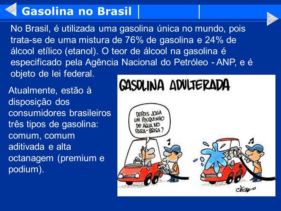 Gasolina no Brasil No Brasil, é utilizada uma gasolina única no mundo, pois trata-se de uma mistura de 76% de gasolina e 24% de álcool etílico (etanol