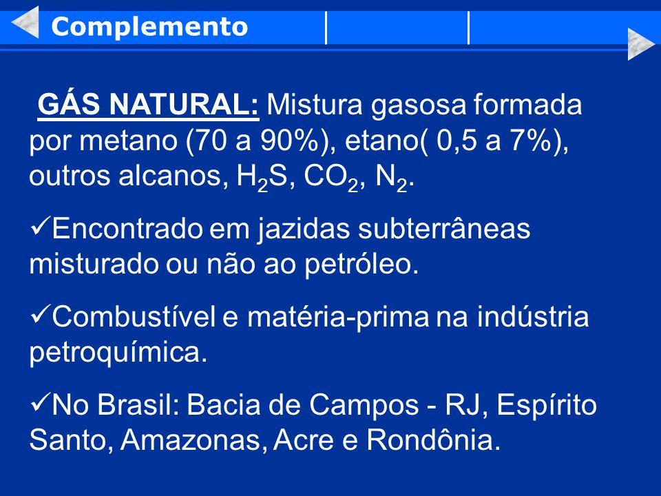 Complemento GÁS NATURAL: Mistura gasosa formada por metano (70 a 90%), etano( 0,5 a 7%), outros alcanos, H 2 S, CO 2, N 2. Encontrado em jazidas subte