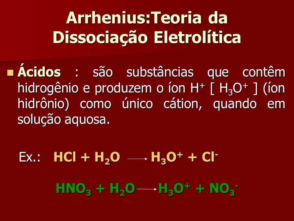 Arrhenius:Teoria da Dissociação Eletrolítica Ácidos : são substâncias que contêm hidrogênio e produzem o íon H + [ H 3 O + ] (íon hidrônio) como único