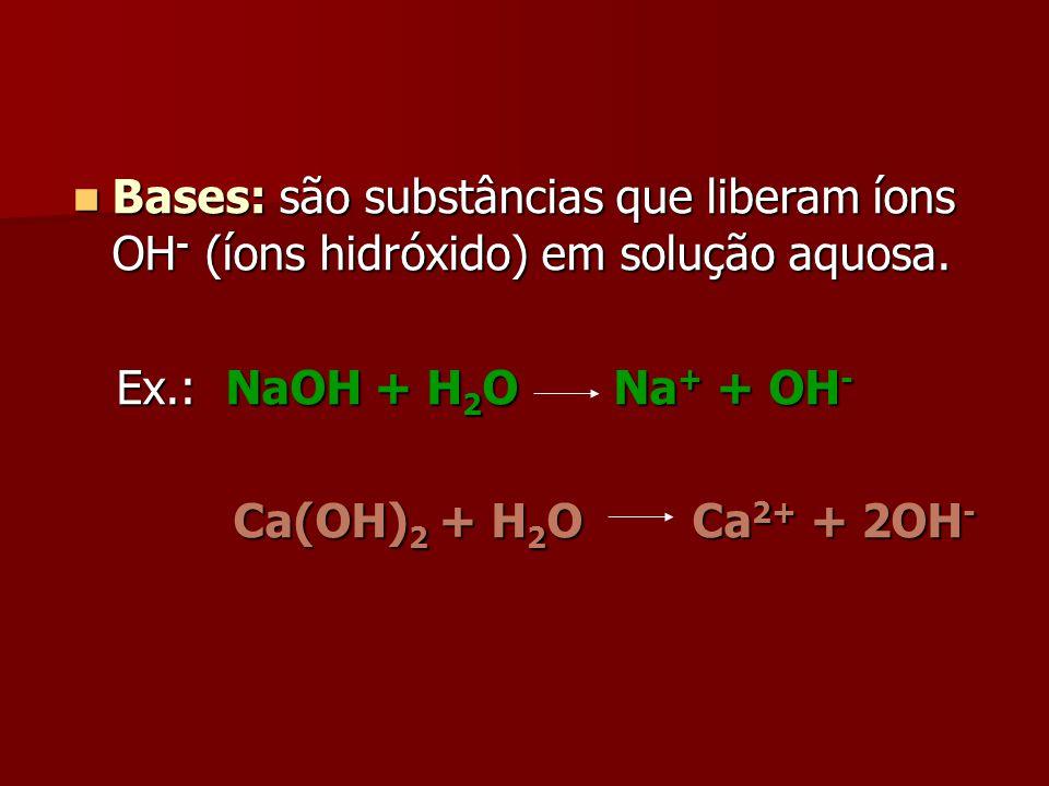 Bases: são substâncias que liberam íons OH - (íons hidróxido) em solução aquosa. Bases: são substâncias que liberam íons OH - (íons hidróxido) em solu