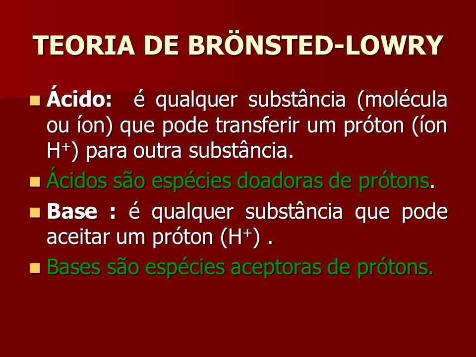 TEORIA DE BRÖNSTED-LOWRY Ácido: é qualquer substância (molécula ou íon) que pode transferir um próton (íon H + ) para outra substância. Ácido: é qualq