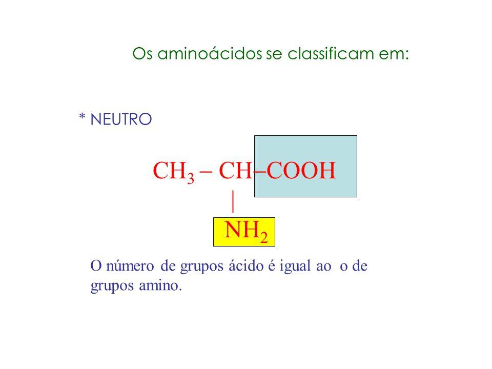 Aminoácido Reagem com ácido Reagem com base Reage intramolecularmente formando um sal pelo seu caráter anfótero H 3 C CH COO NH 3 + H3C CH COOH NH2 H3