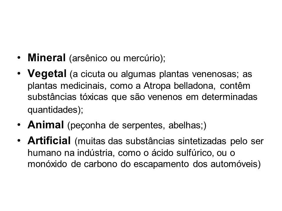 Mineral (arsênico ou mercúrio); Vegetal (a cicuta ou algumas plantas venenosas; as plantas medicinais, como a Atropa belladona, contêm substâncias tóx