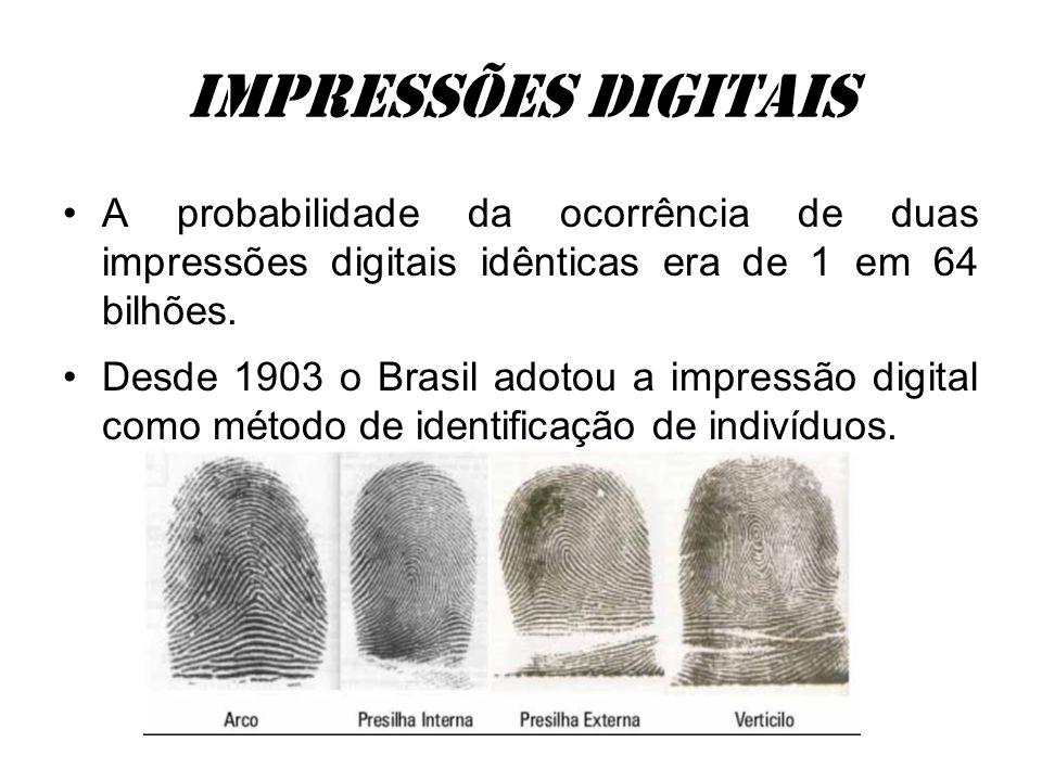 Impressões digitais A probabilidade da ocorrência de duas impressões digitais idênticas era de 1 em 64 bilhões. Desde 1903 o Brasil adotou a impressão