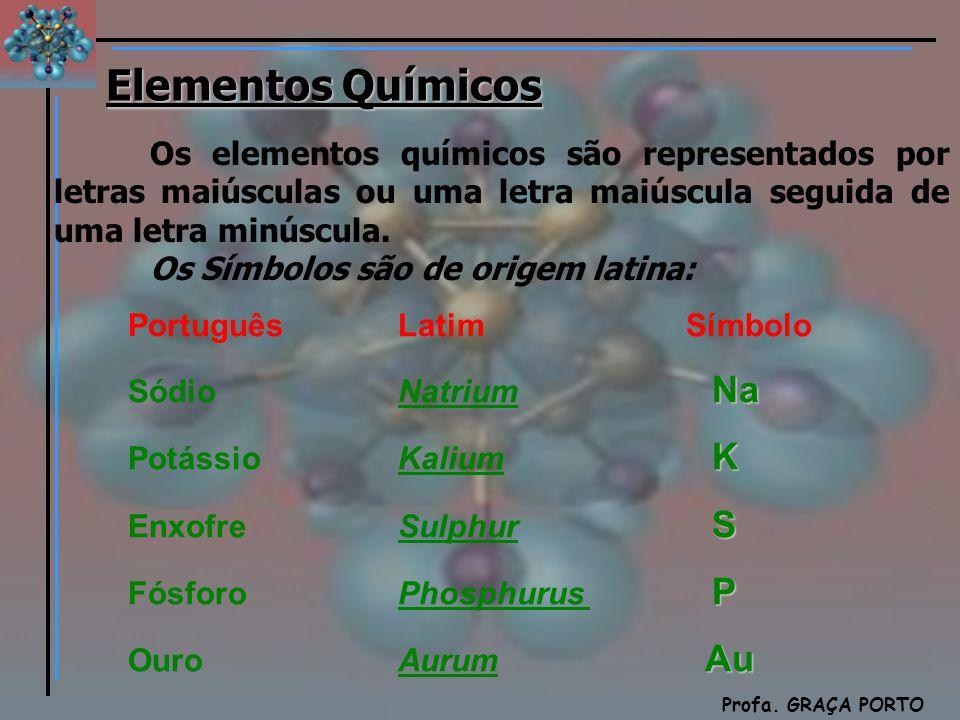 Química Profa. GRAÇA PORTO Elementos Químicos Os elementos químicos são representados por letras maiúsculas ou uma letra maiúscula seguida de uma letr