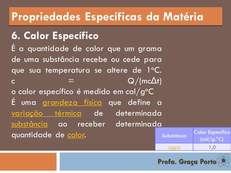 Profa. Graça Porto Propriedades Específicas da Matéria 5. Densidade É a relação da massa de um corpo pelo seu volume.
