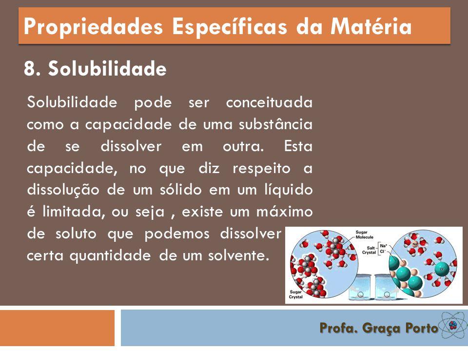 Profa. Graça Porto Propriedades Específicas da Matéria 7. Condutividade Condutividade térmica é uma propriedade física dos materiais que é descrita co