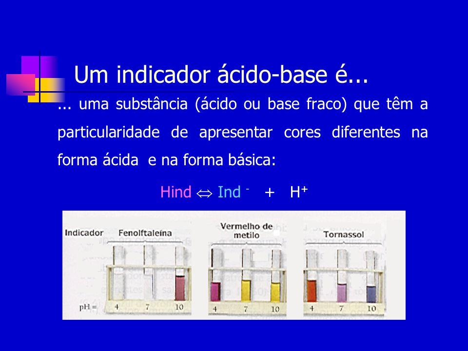 Um indicador ácido-base é...... uma substância (ácido ou base fraco) que têm a particularidade de apresentar cores diferentes na forma ácida e na form