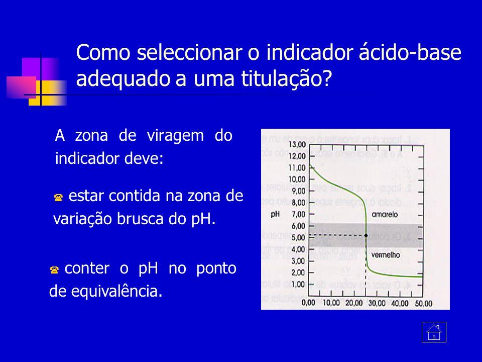 Como seleccionar o indicador ácido-base adequado a uma titulação? A zona de viragem do indicador deve: ( estar contida na zona de variação brusca do p