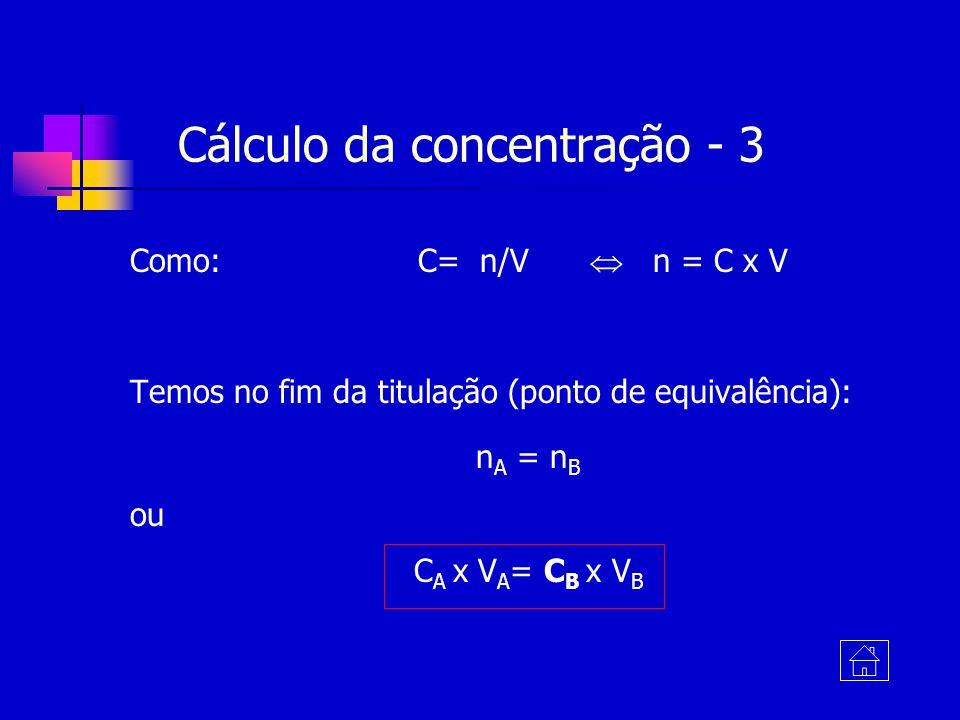 Como: C= n/V n = C x V Temos no fim da titulação (ponto de equivalência): n A = n B ou C A x V A = C B x V B Cálculo da concentração - 3