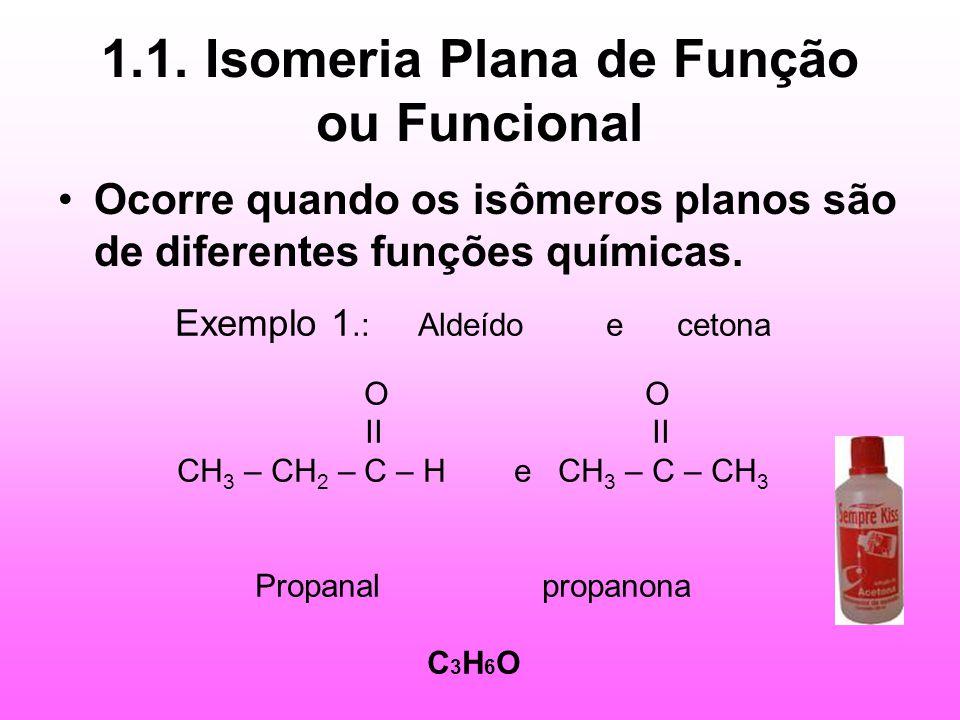 1.1. Isomeria Plana de Função ou Funcional Ocorre quando os isômeros planos são de diferentes funções químicas. Exemplo 1.: Aldeído e cetona O O II II