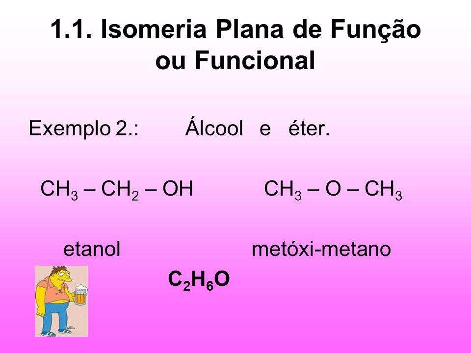 1.1. Isomeria Plana de Função ou Funcional Exemplo 2.: Álcool e éter. CH 3 – CH 2 – OH CH 3 – O – CH 3 etanol metóxi-metano C 2 H 6 O