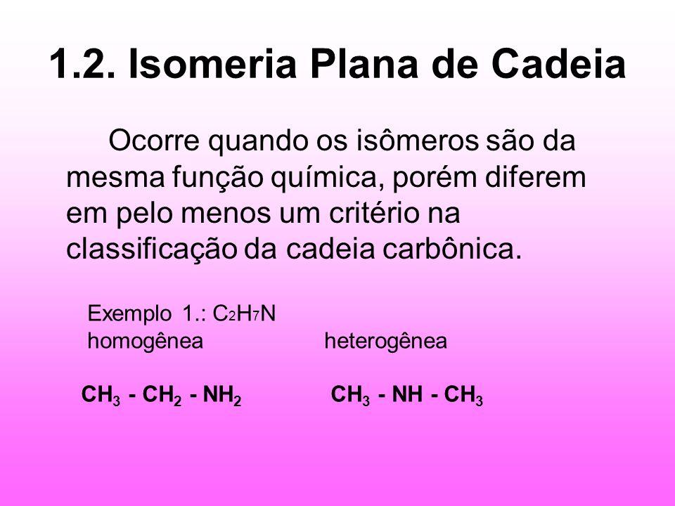 1.2. Isomeria Plana de Cadeia Ocorre quando os isômeros são da mesma função química, porém diferem em pelo menos um critério na classificação da cadei