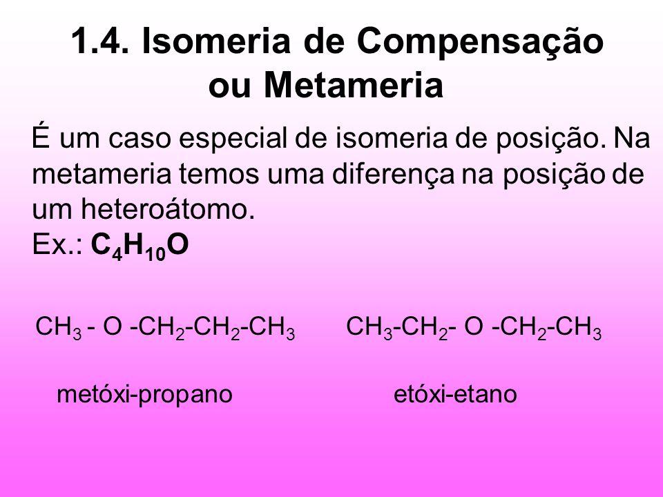 1.4. Isomeria de Compensação ou Metameria É um caso especial de isomeria de posição. Na metameria temos uma diferença na posição de um heteroátomo. Ex