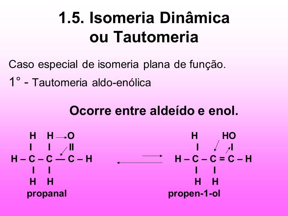 1.5. Isomeria Dinâmica ou Tautomeria Caso especial de isomeria plana de função. 1° - Tautomeria aldo-enólica Ocorre entre aldeído e enol. H H O H HO I