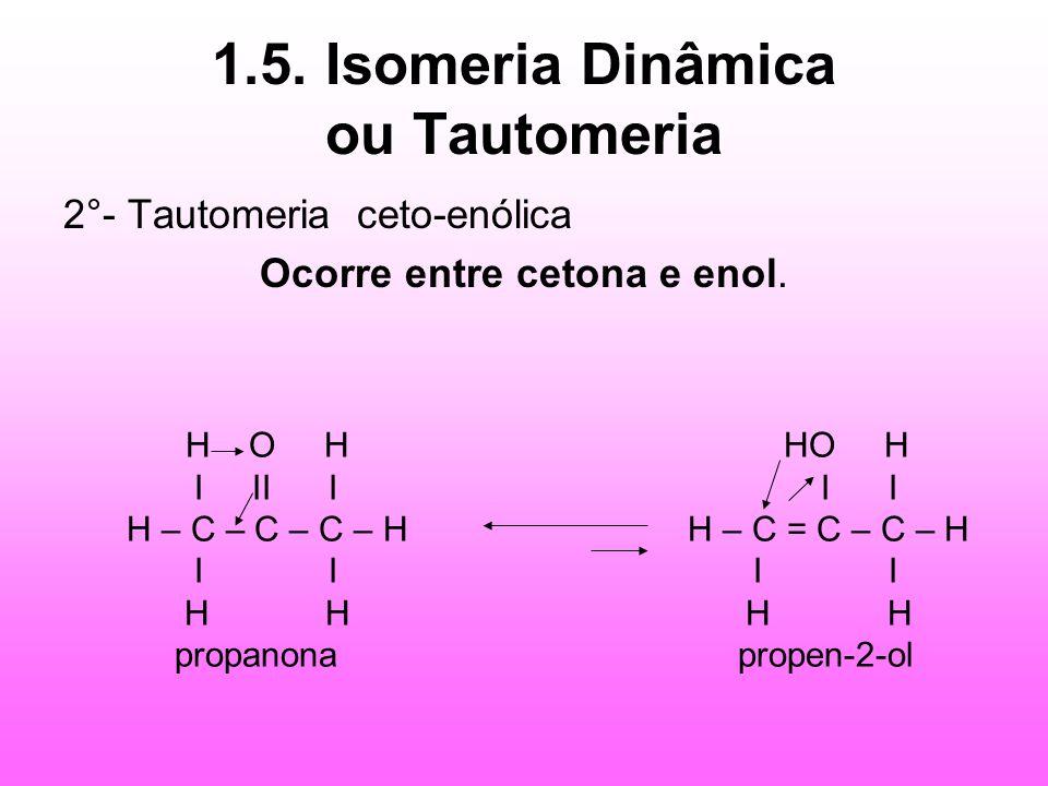 1.5. Isomeria Dinâmica ou Tautomeria 2°- Tautomeria ceto-enólica Ocorre entre cetona e enol. H O H HO H I II I I I H – C – C – C – H H – C = C – C – H