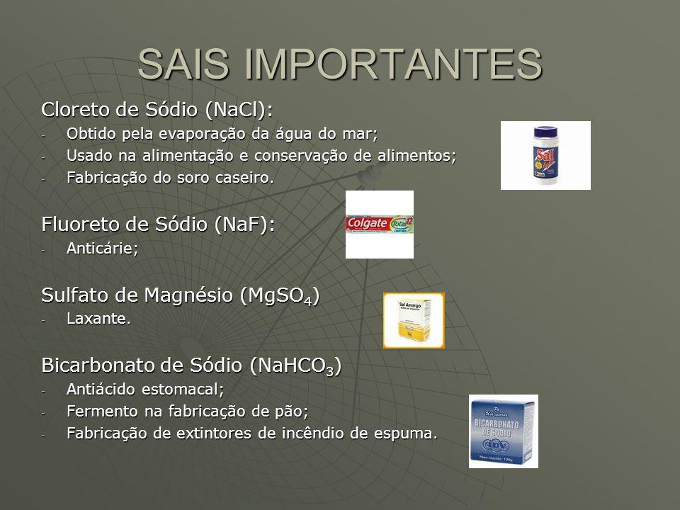 SAIS IMPORTANTES Cloreto de Sódio (NaCl): - Obtido pela evaporação da água do mar; - Usado na alimentação e conservação de alimentos; - Fabricação do