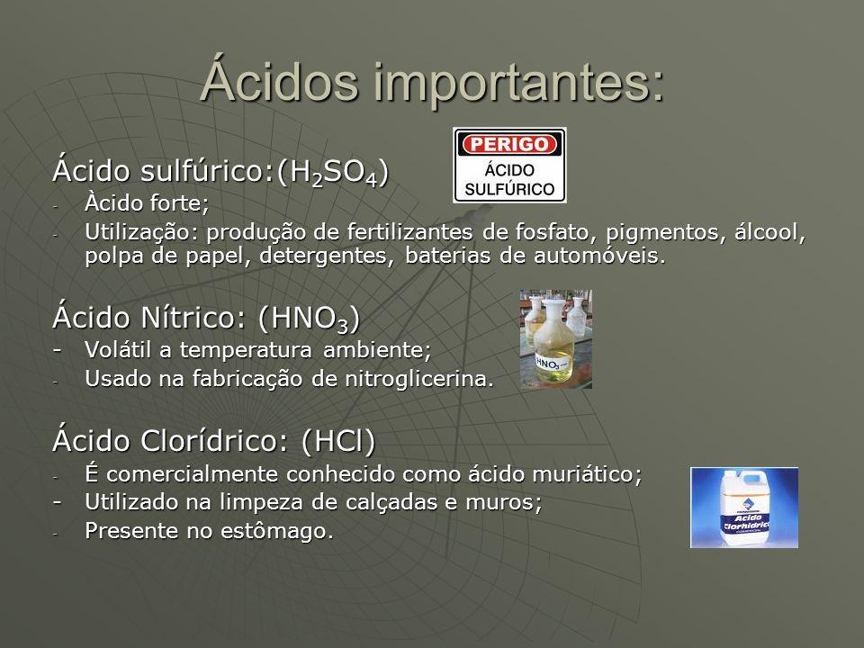 Ácidos importantes: Ácido sulfúrico:(H 2 SO 4 ) - Àcido forte; - Utilização: produção de fertilizantes de fosfato, pigmentos, álcool, polpa de papel,