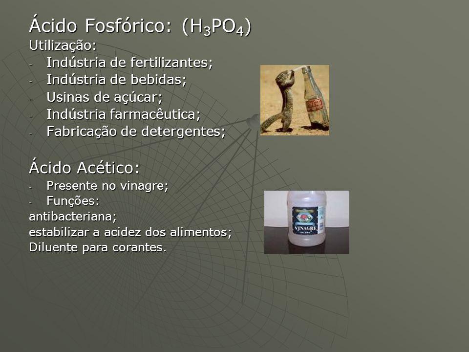Ácido Fosfórico: (H 3 PO 4 ) Utilização: - Indústria de fertilizantes; - Indústria de bebidas; - Usinas de açúcar; - Indústria farmacêutica; - Fabrica