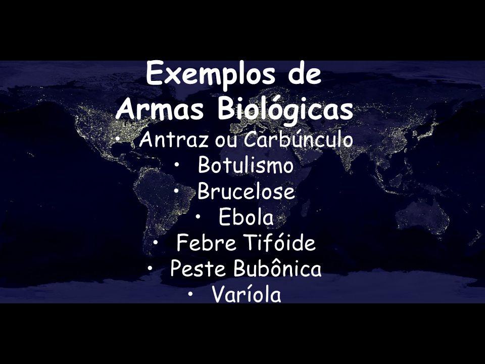 Exemplos de Armas Biológicas Antraz ou Carbúnculo Botulismo Brucelose Ebola Febre Tifóide Peste Bubônica Varíola